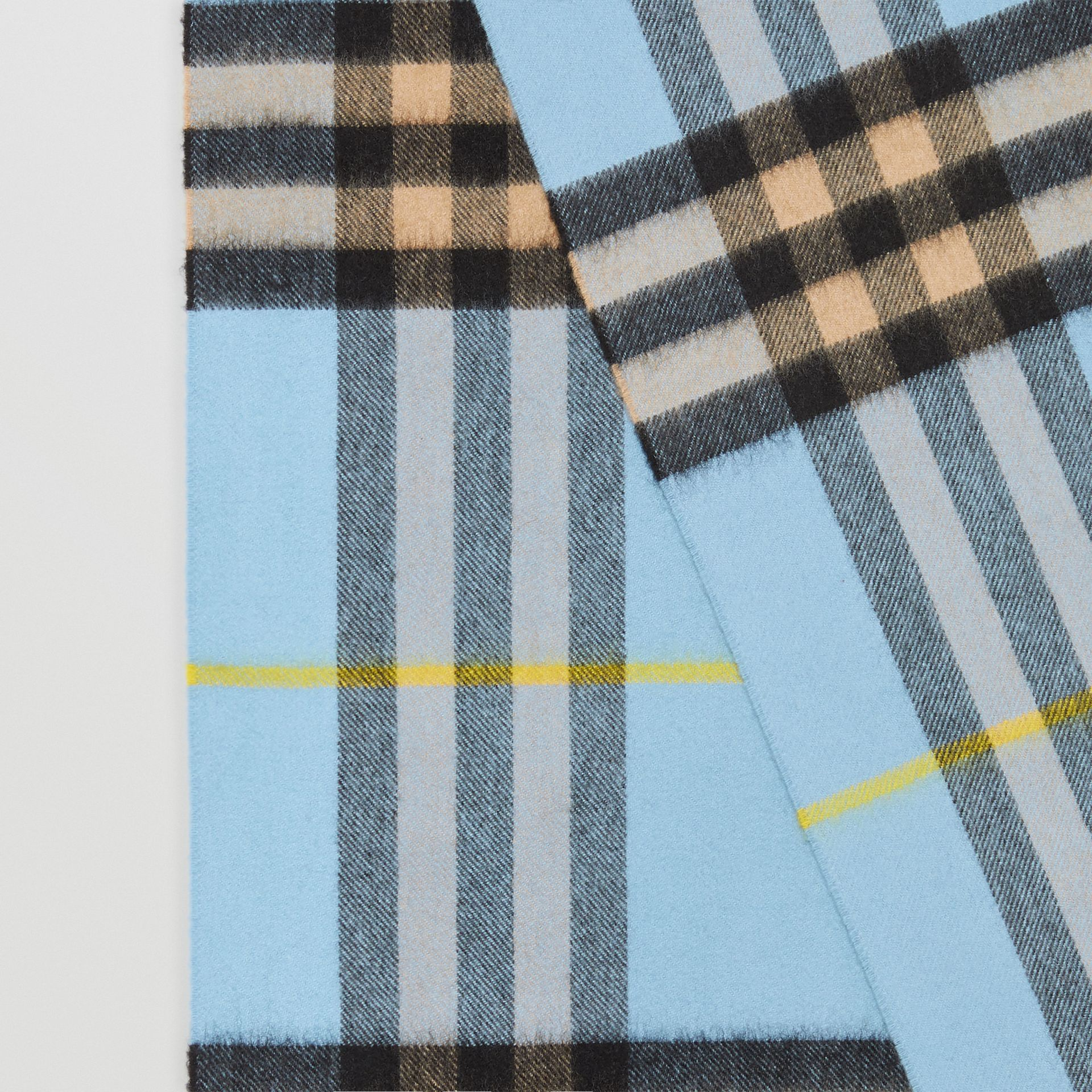 The Classic Check Cashmere Scarf in Pale Blue Carbon | Burberry United Kingdom - gallery image 1