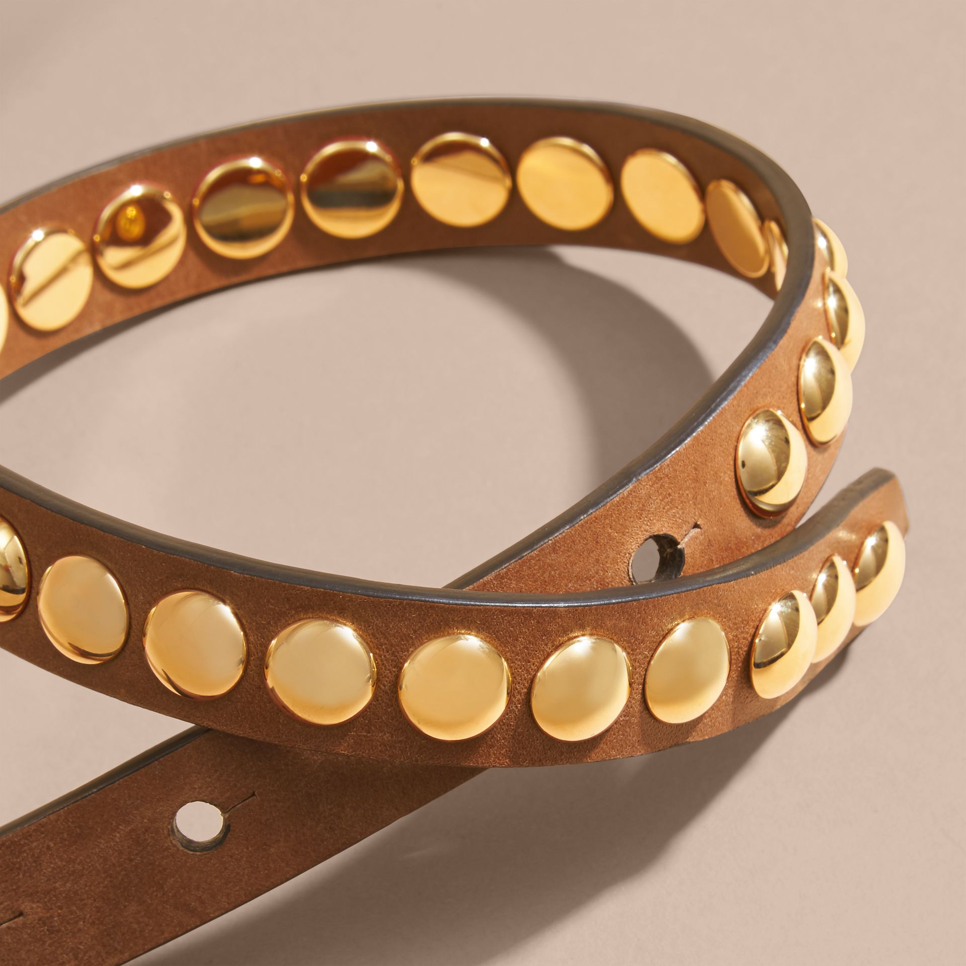 Tan Double-wrap Riveted Bridle Leather Bracelet Tan - gallery image 2
