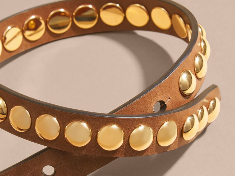 Tan Double-wrap Riveted Bridle Leather Bracelet Tan - cell image 1