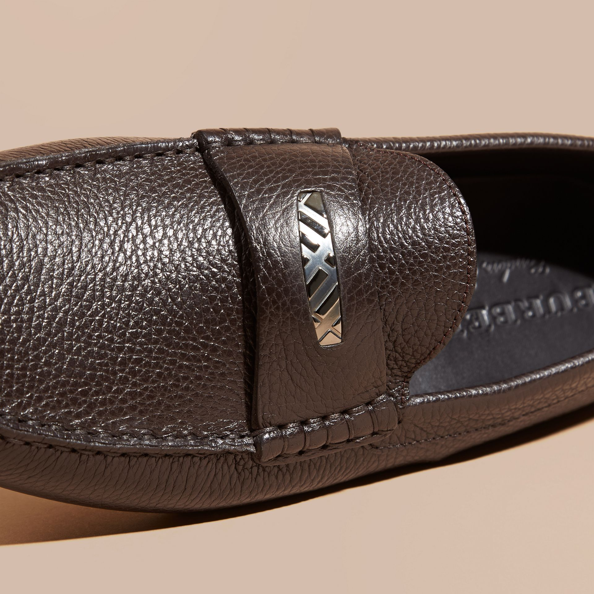 Dark chocolate Grainy Leather Loafers with Engraved Check Detail Dark Chocolate - gallery image 2