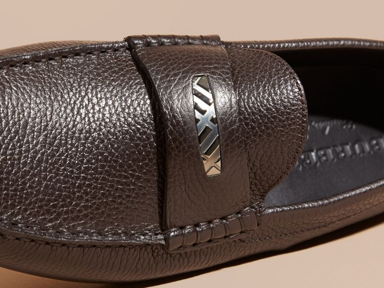 Dark chocolate Grainy Leather Loafers with Engraved Check Detail Dark Chocolate - cell image 1