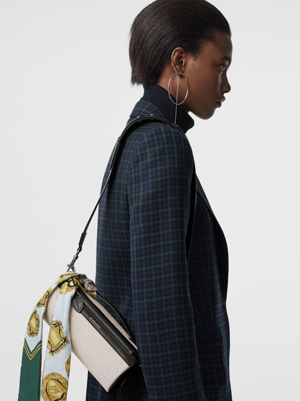Sac The Barrel en cuir, coton et lin (Noir) - Femme | Burberry - cell image 3