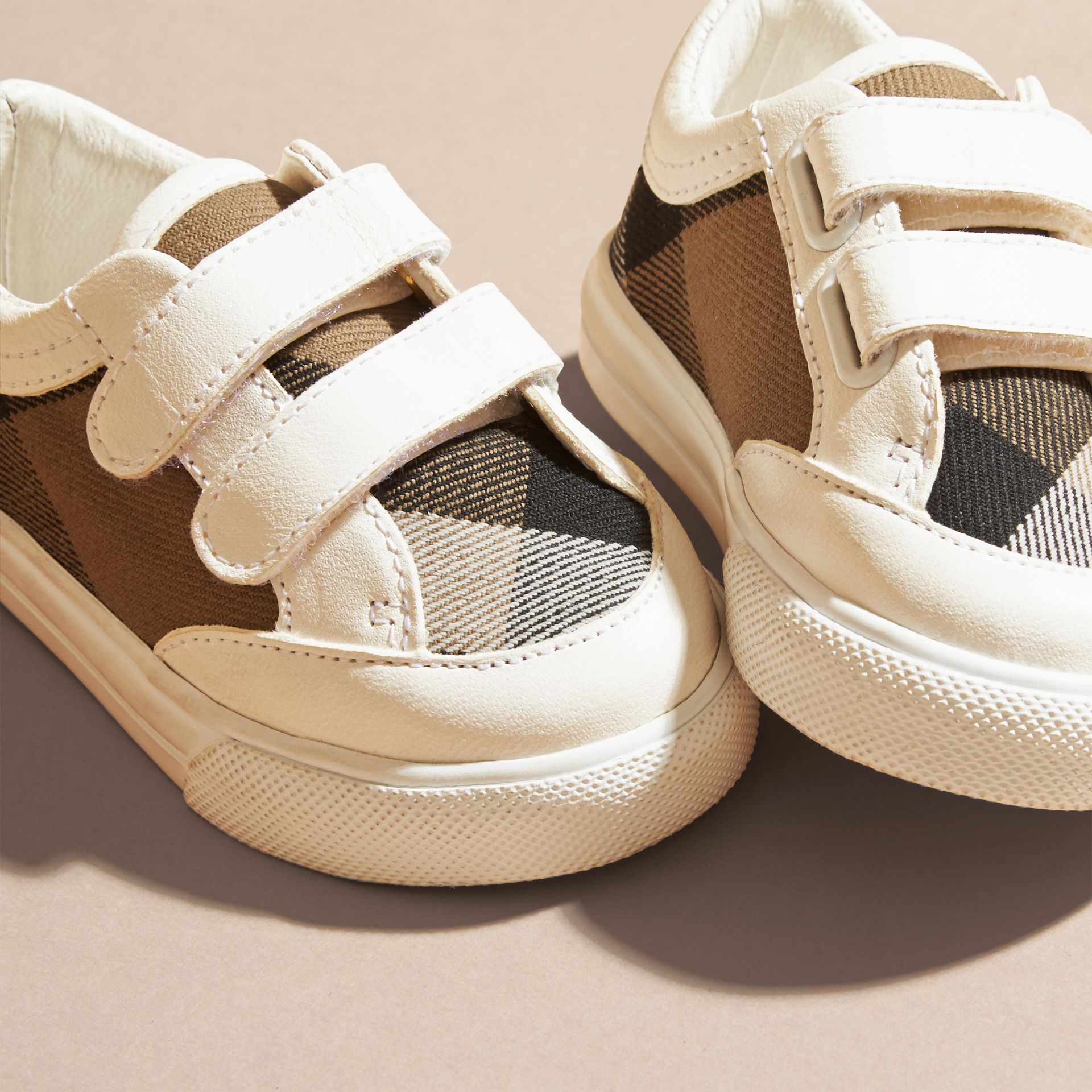 House Check and Leather Trainers in Optic White | Burberry - gallery image 3