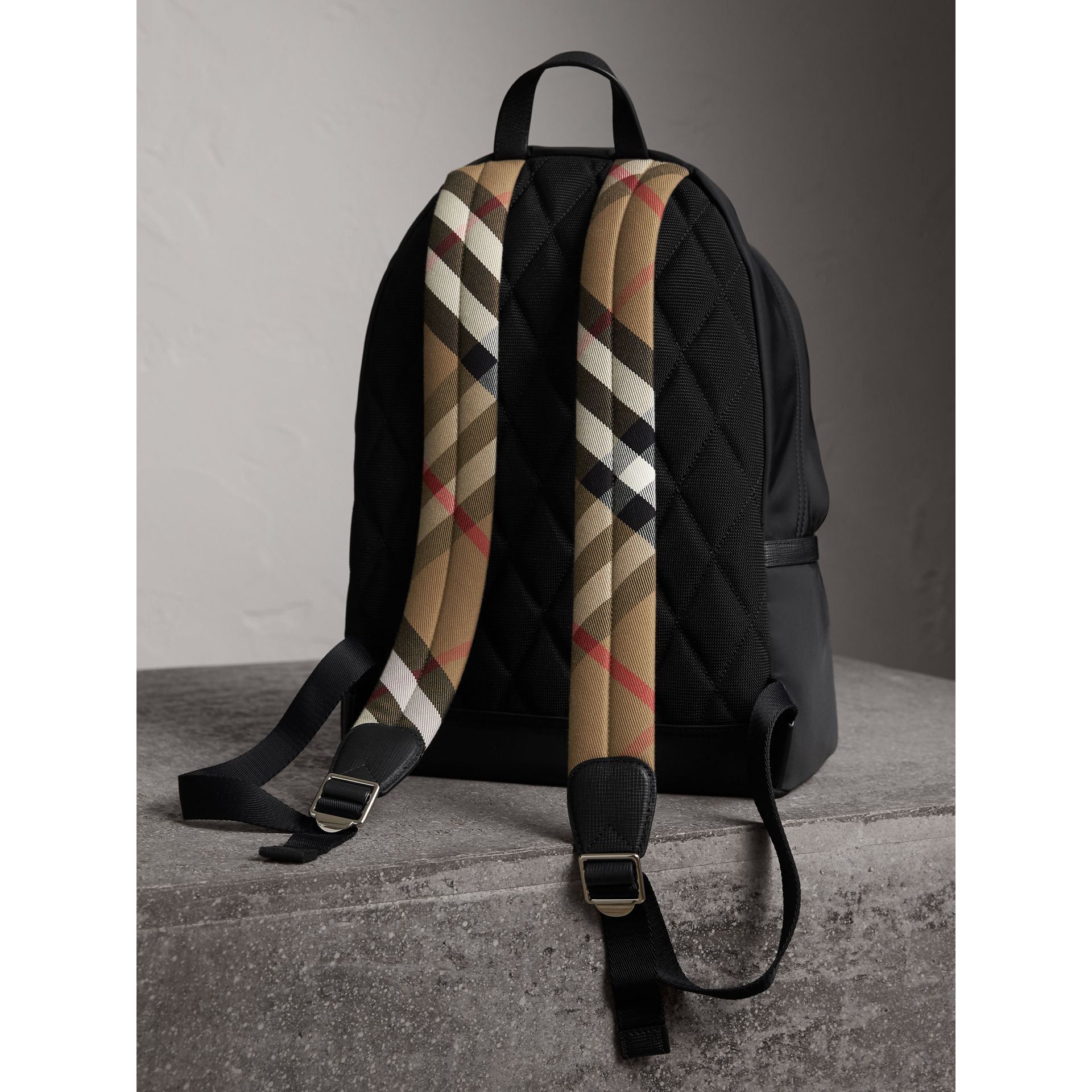 Leather Trim Nylon Backpack with Check Detail in Black - Men | Burberry - gallery image 4