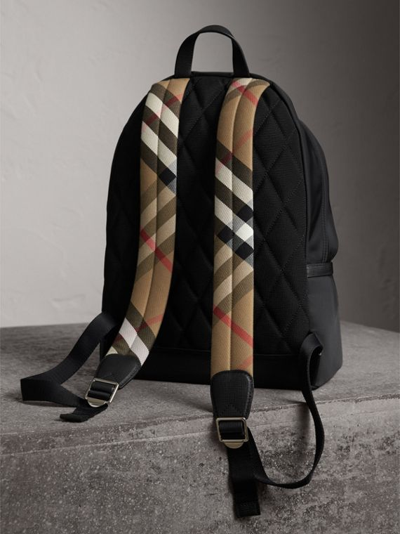 Leather Trim Nylon Backpack with Check Detail in Black - Men | Burberry - cell image 3
