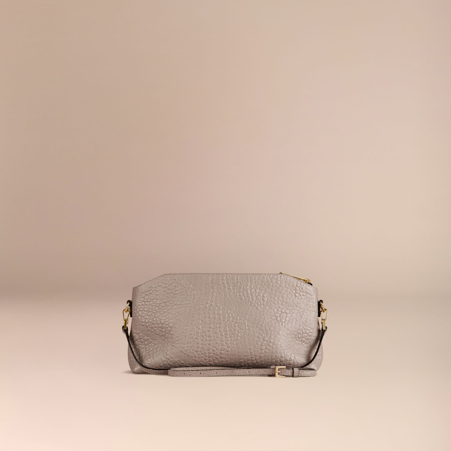 Small Embossed Check Leather Clutch Bag in Pale Grey - gallery image 4