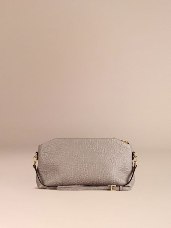 Small Embossed Check Leather Clutch Bag in Pale Grey - cell image 3