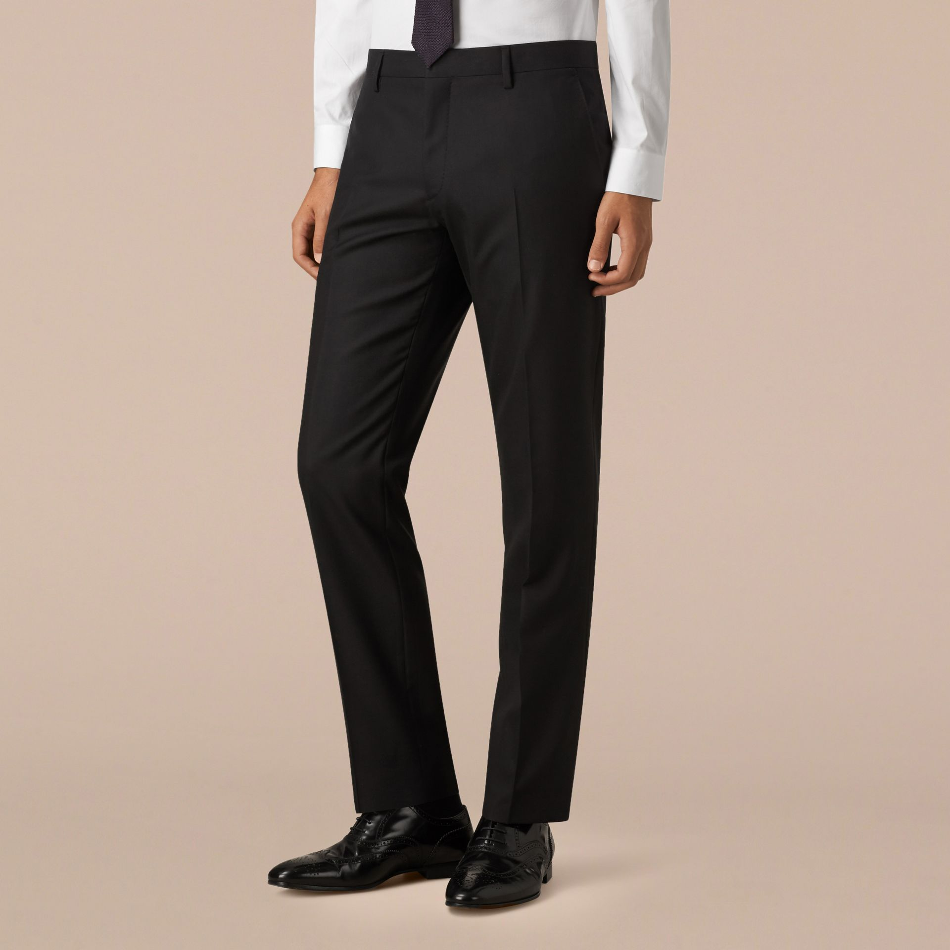 Classic Fit Wool Part-canvas Suit Black - gallery image 6