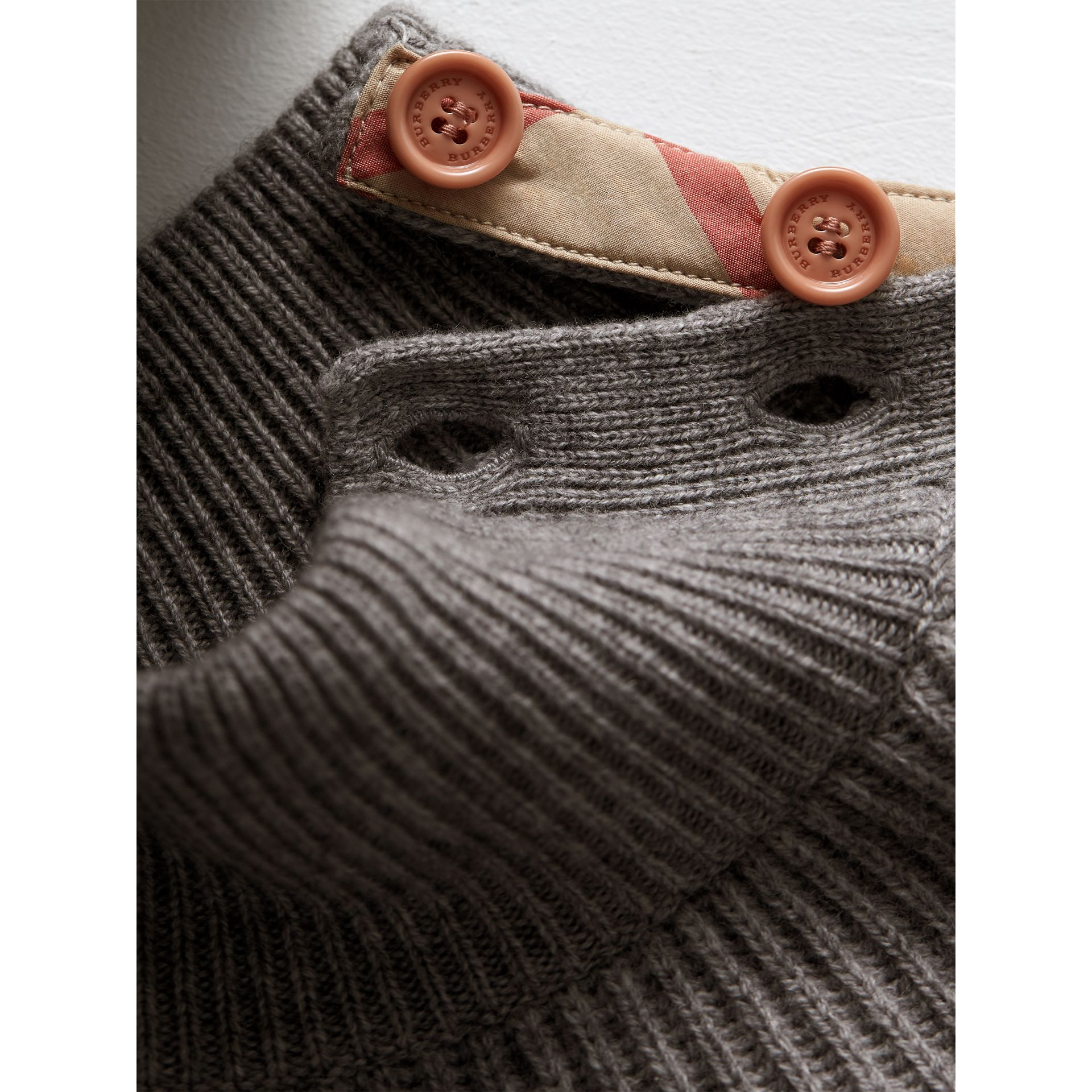 Ruffle Detail Wool Cashmere High-Neck Sweater in Grey Melange - Girl | Burberry Australia - gallery image 2