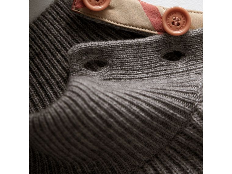 Ruffle Detail Wool Cashmere High-Neck Sweater in Grey Melange - Girl | Burberry Australia - cell image 1