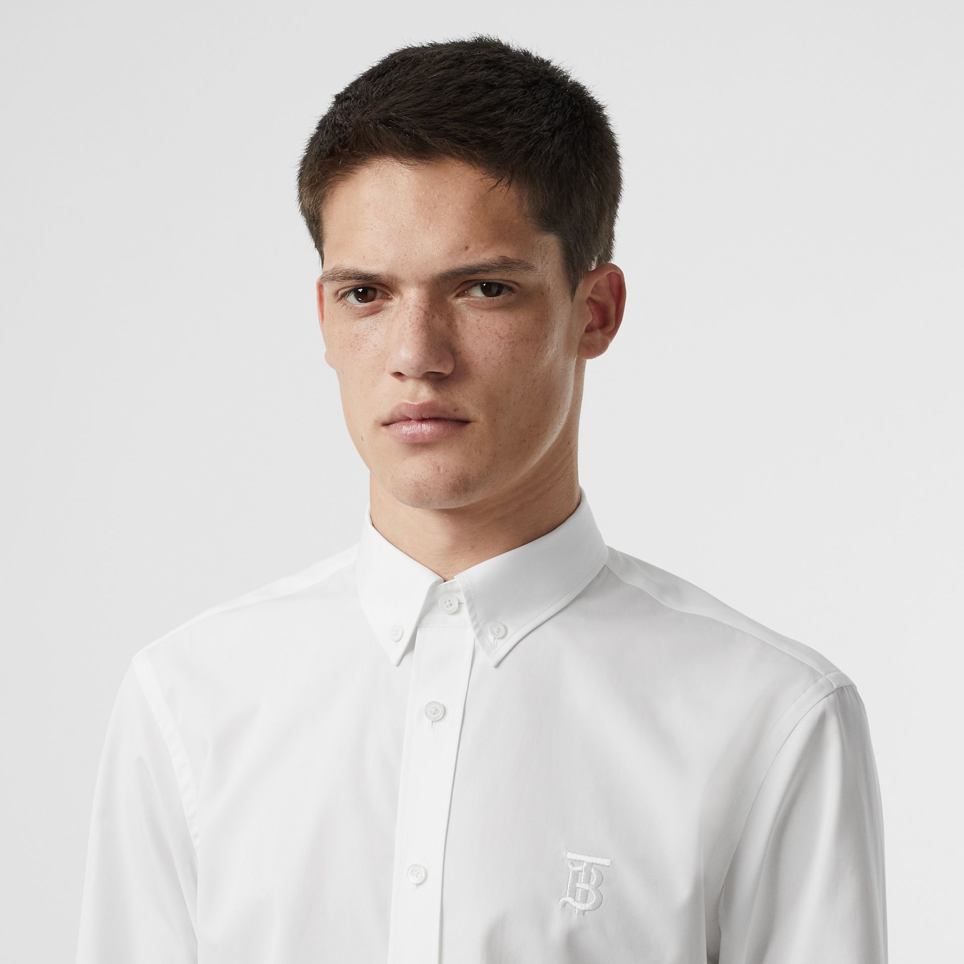 Button-down Collar Monogram Motif Cotton Shirt in Optic White | Burberry - gallery image 1