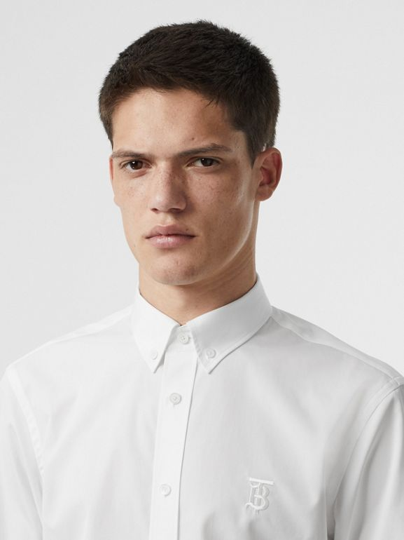 Button-down Collar Monogram Motif Cotton Shirt in Optic White | Burberry - cell image 1
