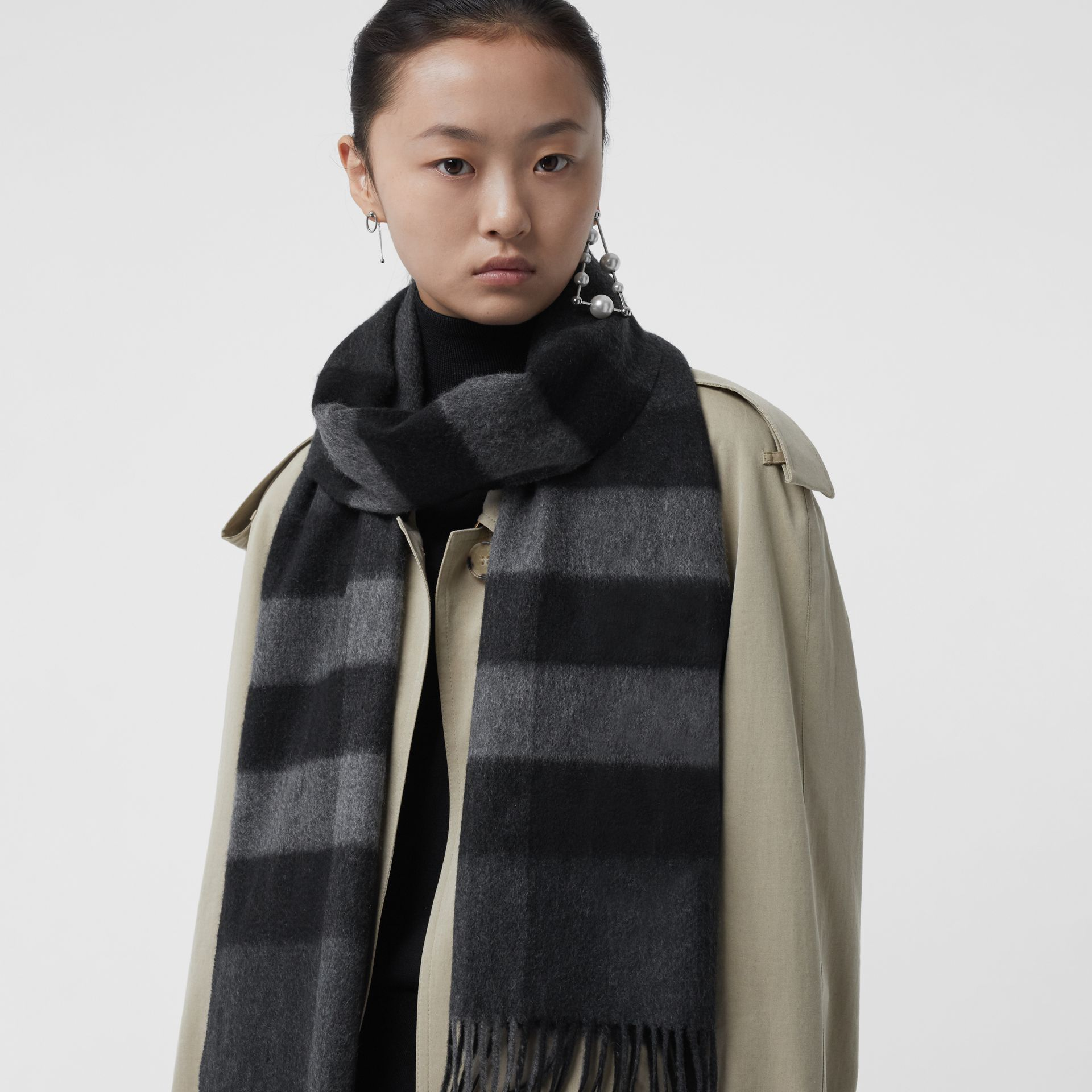The Classic Check Cashmere Scarf in Charcoal | Burberry Australia - gallery image 6
