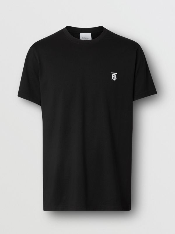 Monogram Motif Cotton T-shirt in Black - Men | Burberry - cell image 3