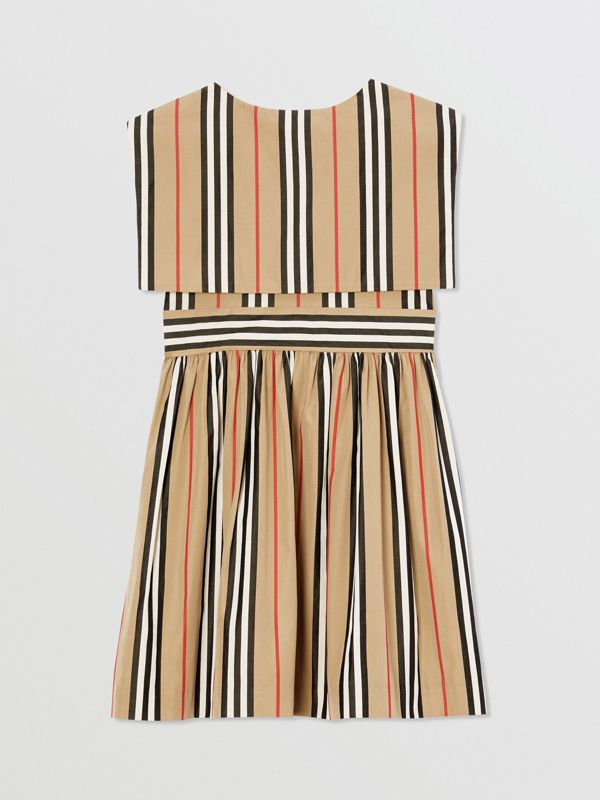 Icon Stripe Cotton Poplin Sailor Dress in Archive Beige | Burberry - cell image 3