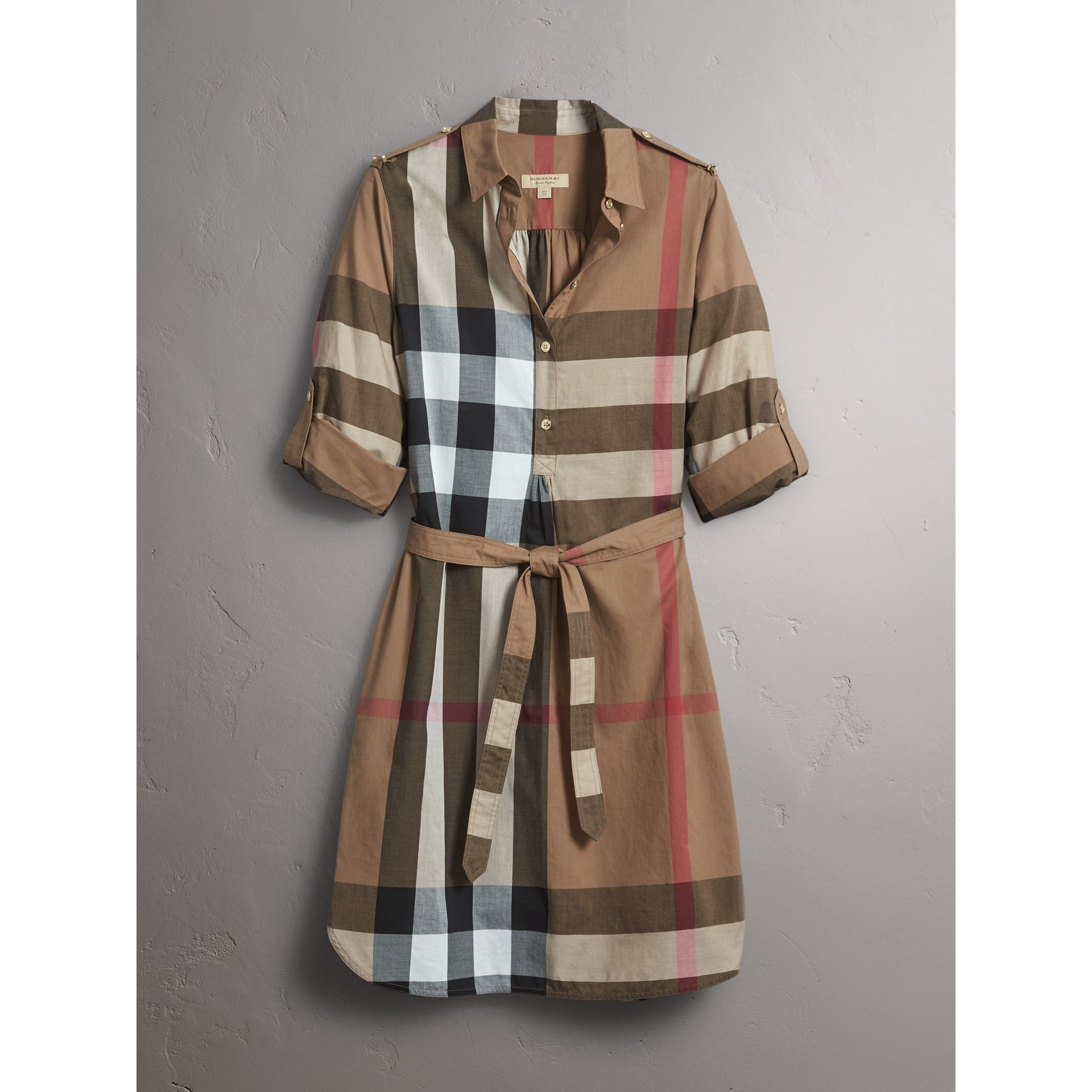Check Cotton Shirt Dress in Taupe Brown - Women | Burberry Australia - gallery image 3