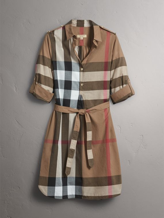 Check Cotton Shirt Dress in Taupe Brown - Women | Burberry - cell image 3