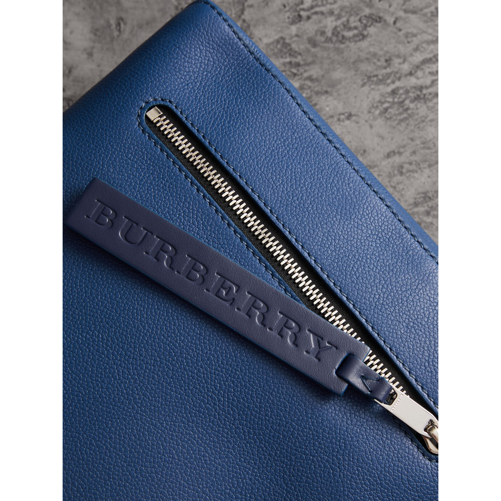 Grainy Leather Briefcase in Bright Ultramarine - Men | Burberry United States - gallery image 1
