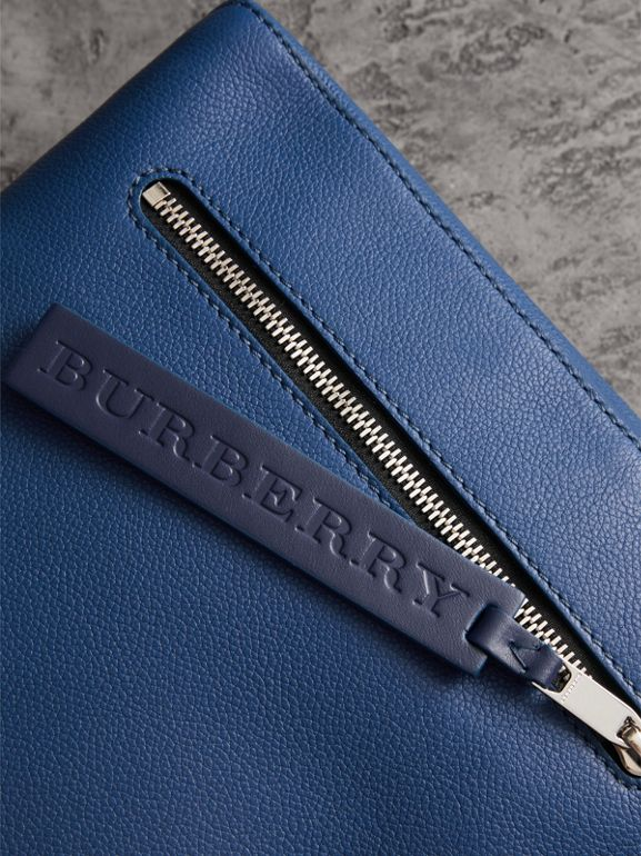 Grainy Leather Briefcase in Bright Ultramarine - Men | Burberry United States - cell image 1