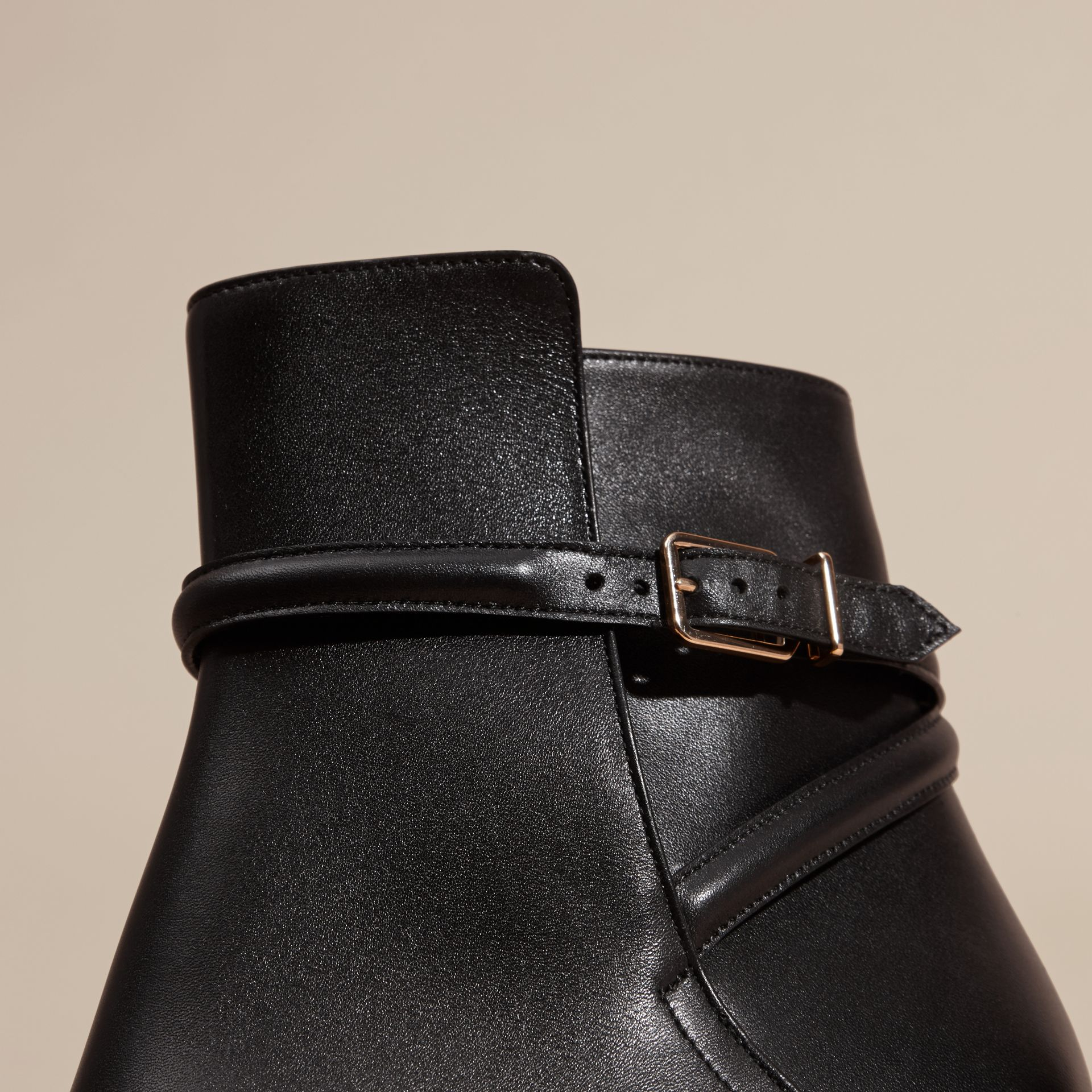 Black Strap Detail Leather Ankle Boots - gallery image 2