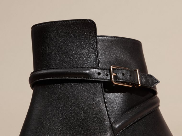 Black Strap Detail Leather Ankle Boots - cell image 1