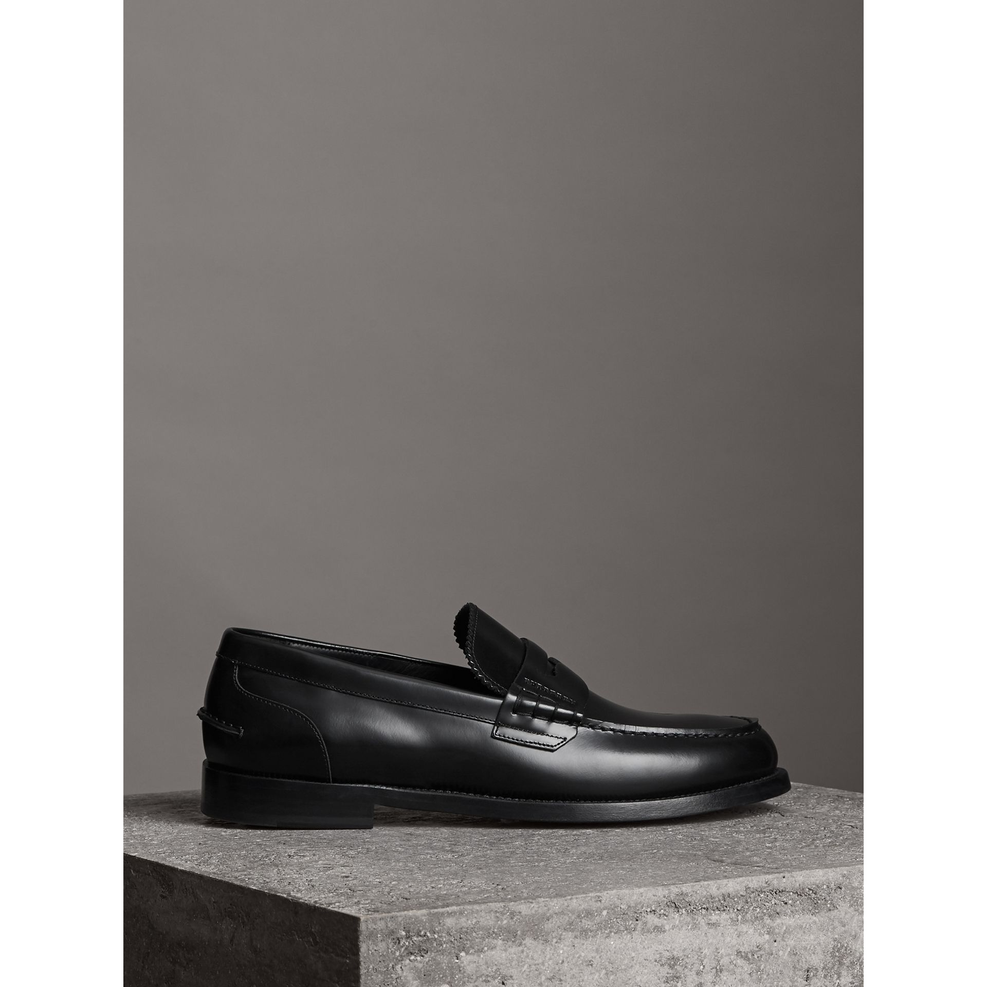 Leather Penny Loafers in Black - Men | Burberry United Kingdom - gallery image 4