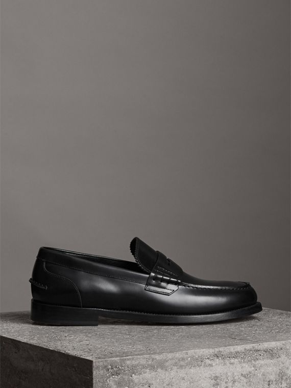 Leather Penny Loafers in Black