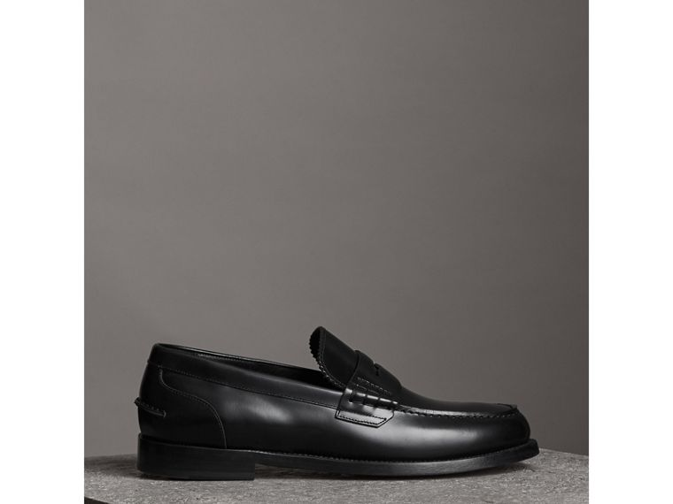 Leather Penny Loafers in Black - Men | Burberry Canada - cell image 4
