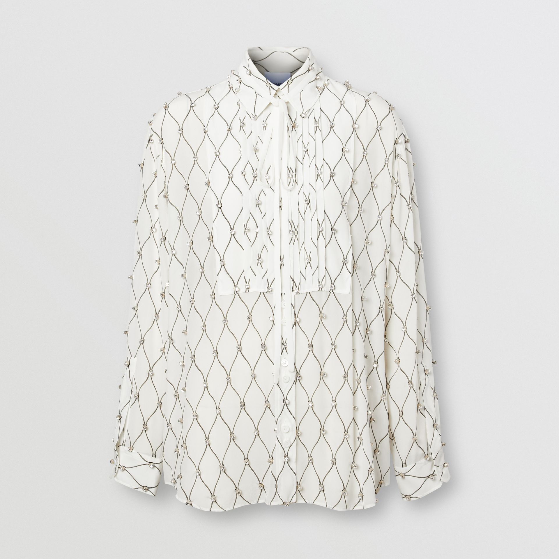 Crystal Detail Net Print Silk Oversized Tie-neck Shirt in White - Women | Burberry United Kingdom - gallery image 3