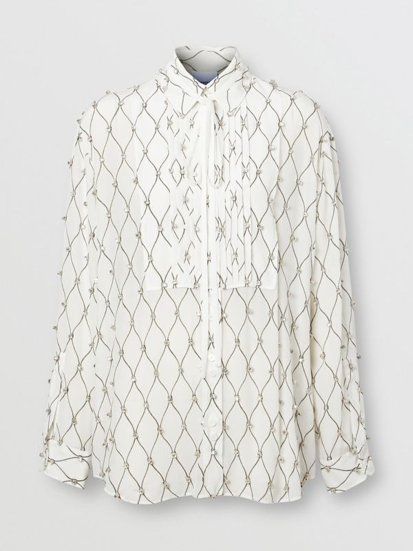 Crystal Detail Net Print Silk Oversized Tie-neck Shirt in White - Women | Burberry United Kingdom - cell image 3