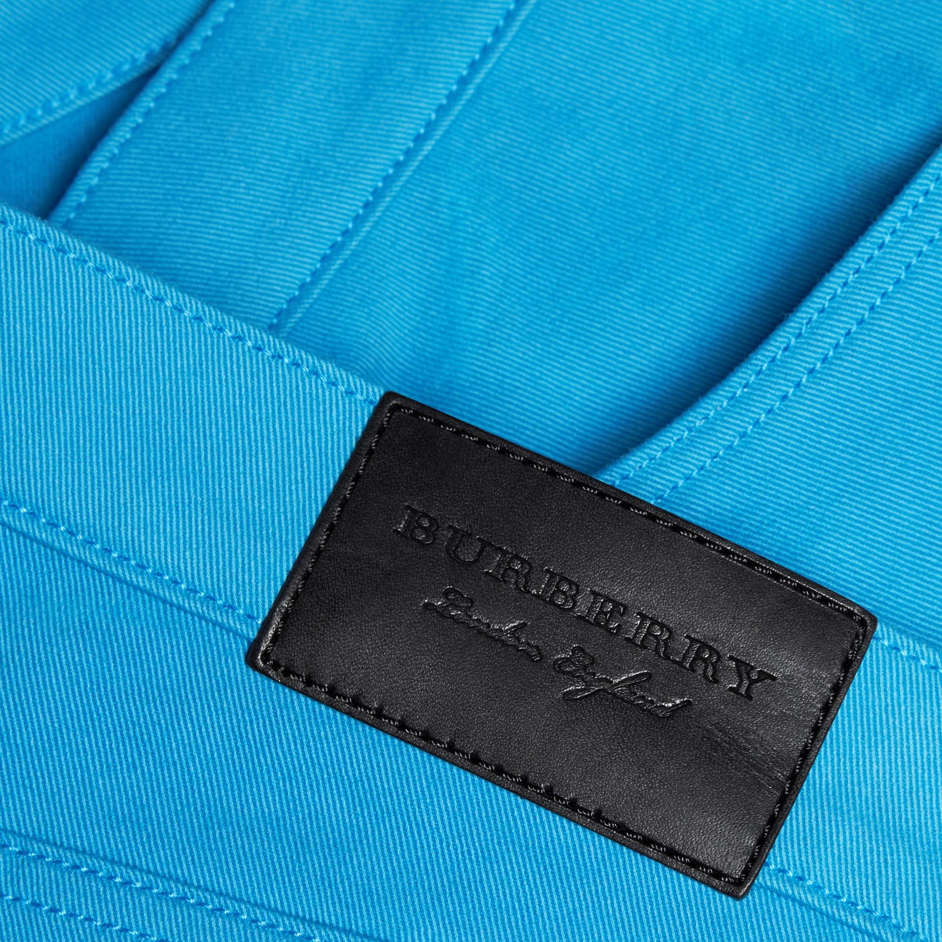 Slim Fit Japanese Stretch Denim Jeans Cerulean Blue - gallery image 2