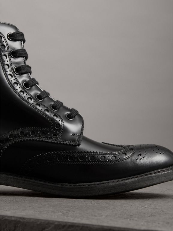 Brogue Detail Polished Leather Boots in Black - Men | Burberry - cell image 1