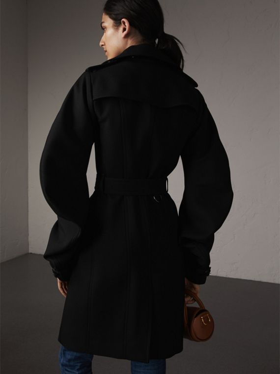 Wool Sculptural Trench Coat in Black - Women | Burberry - cell image 2