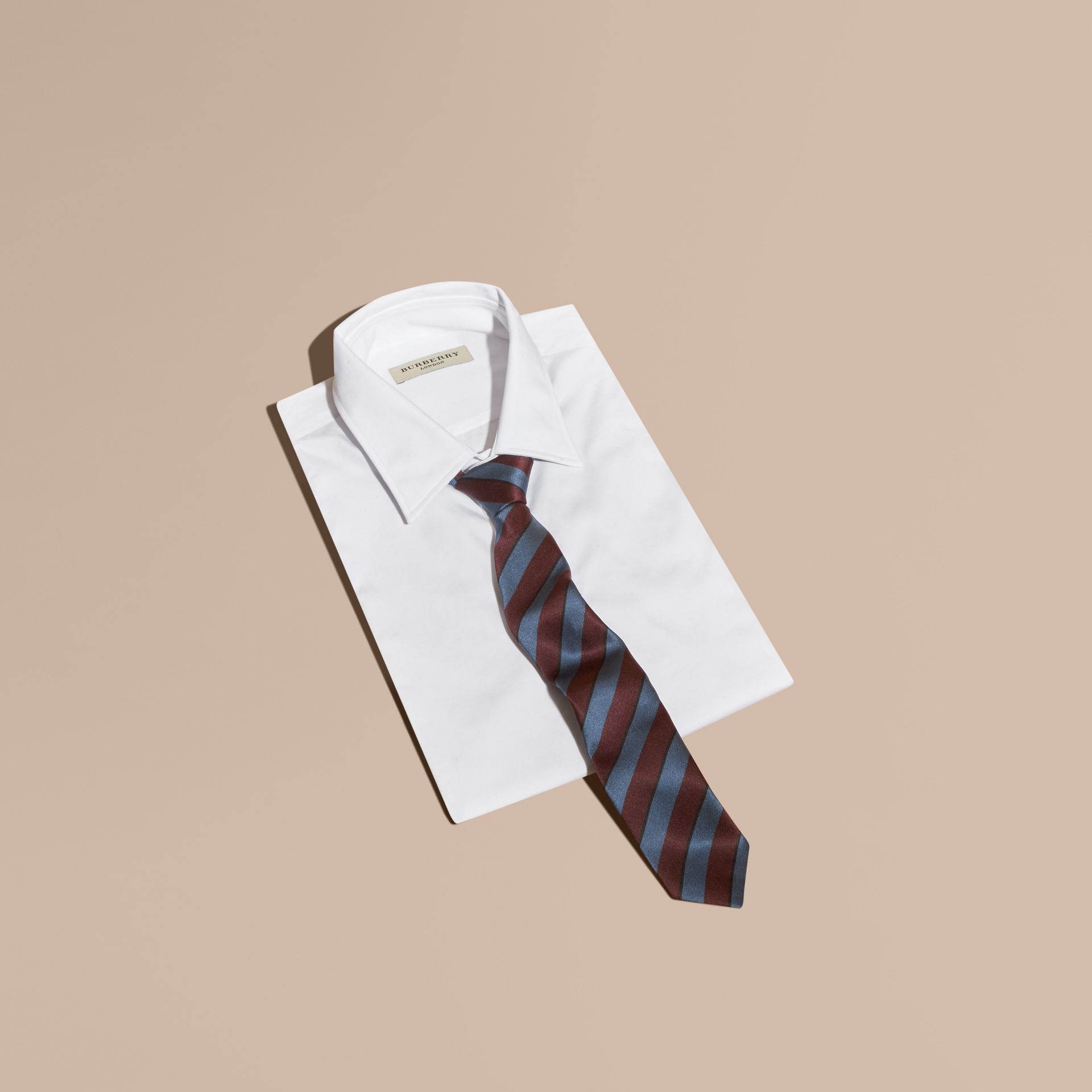 Slim Cut Pyjama Stripe Silk Cotton Tie in Navy - Men | Burberry - gallery image 3