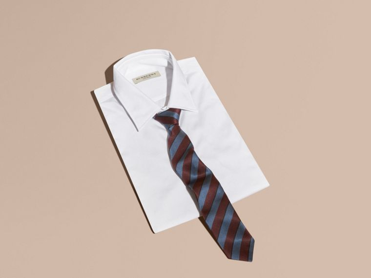 Slim Cut Pyjama Stripe Silk Cotton Tie in Navy - Men | Burberry - cell image 2