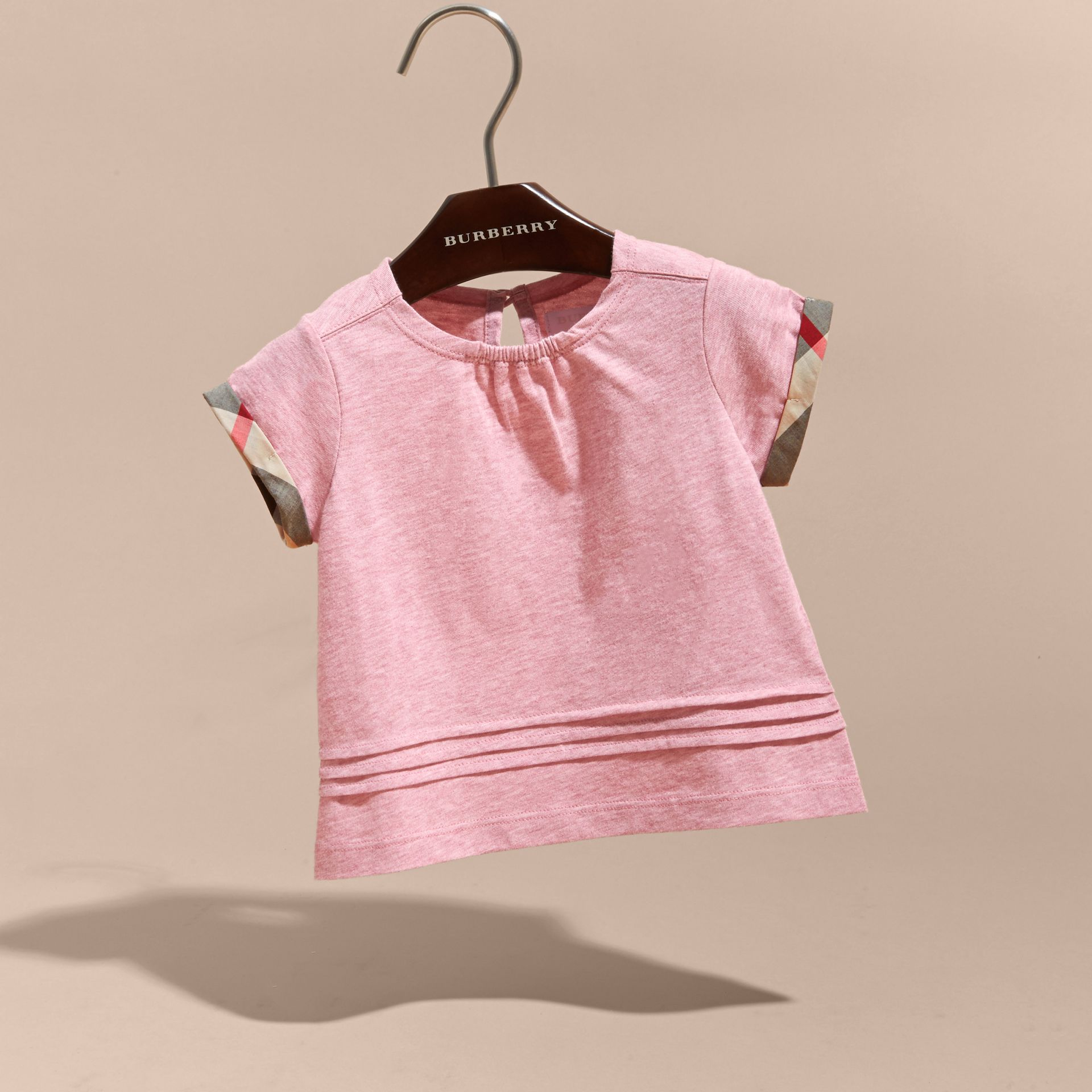 Pleat and Check Detail Cotton T-shirt in Light Copper Pink Melange | Burberry - gallery image 3