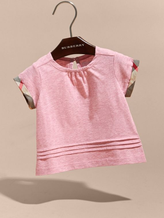 Pleat and Check Detail Cotton T-shirt in Light Copper Pink Melange | Burberry - cell image 2