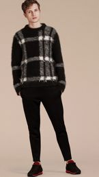 Check Intarsia Mohair Cashmere Blend Sweater