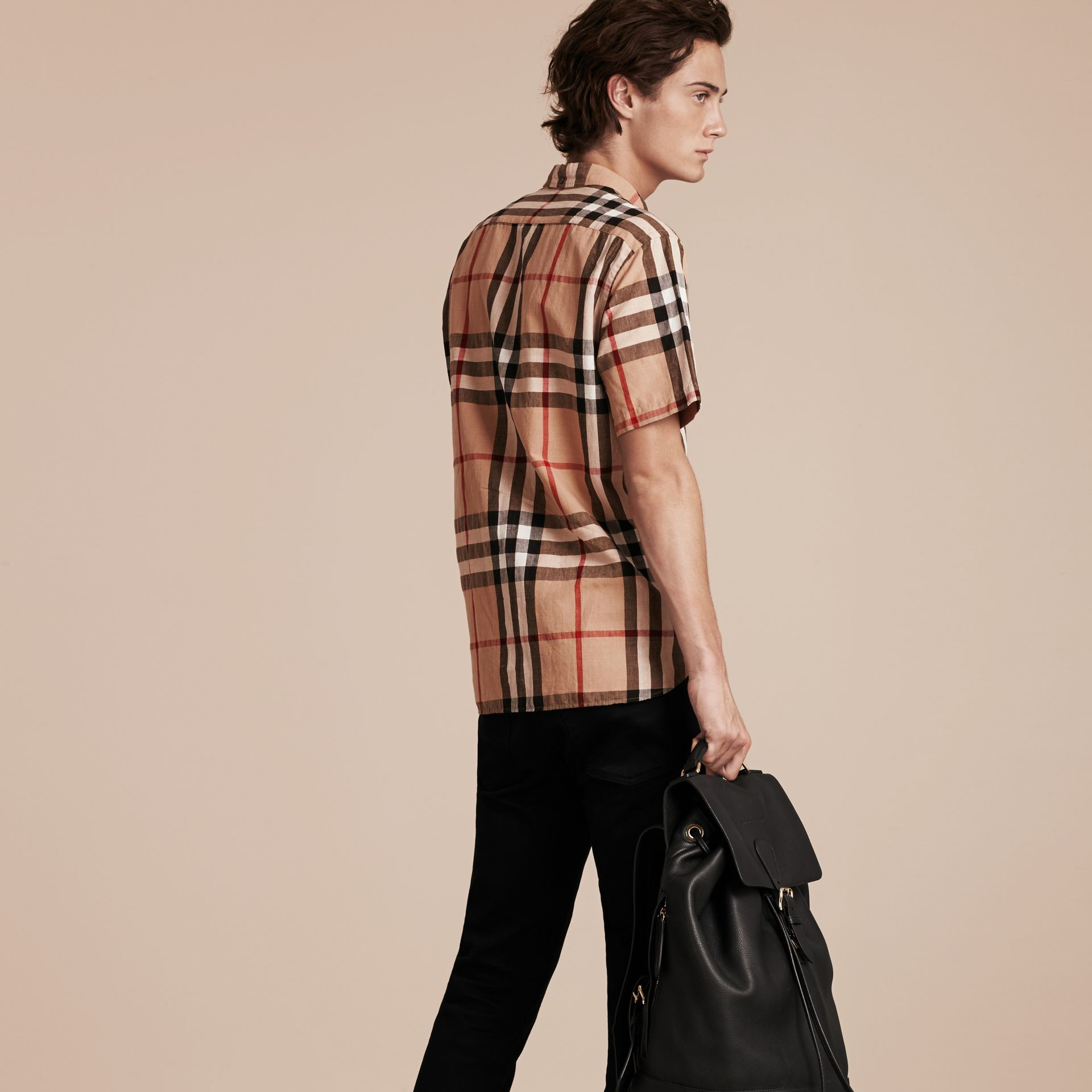 Short-sleeved Check Linen Cotton Shirt Camel - gallery image 2