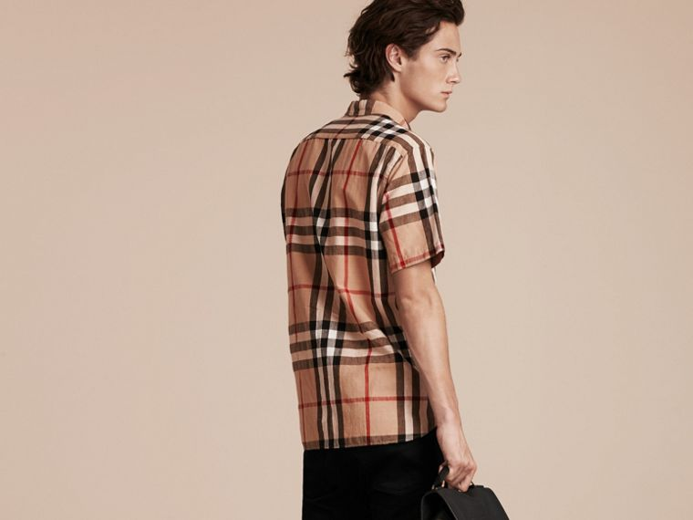 Short-sleeved Check Linen Cotton Shirt in Camel - cell image 1
