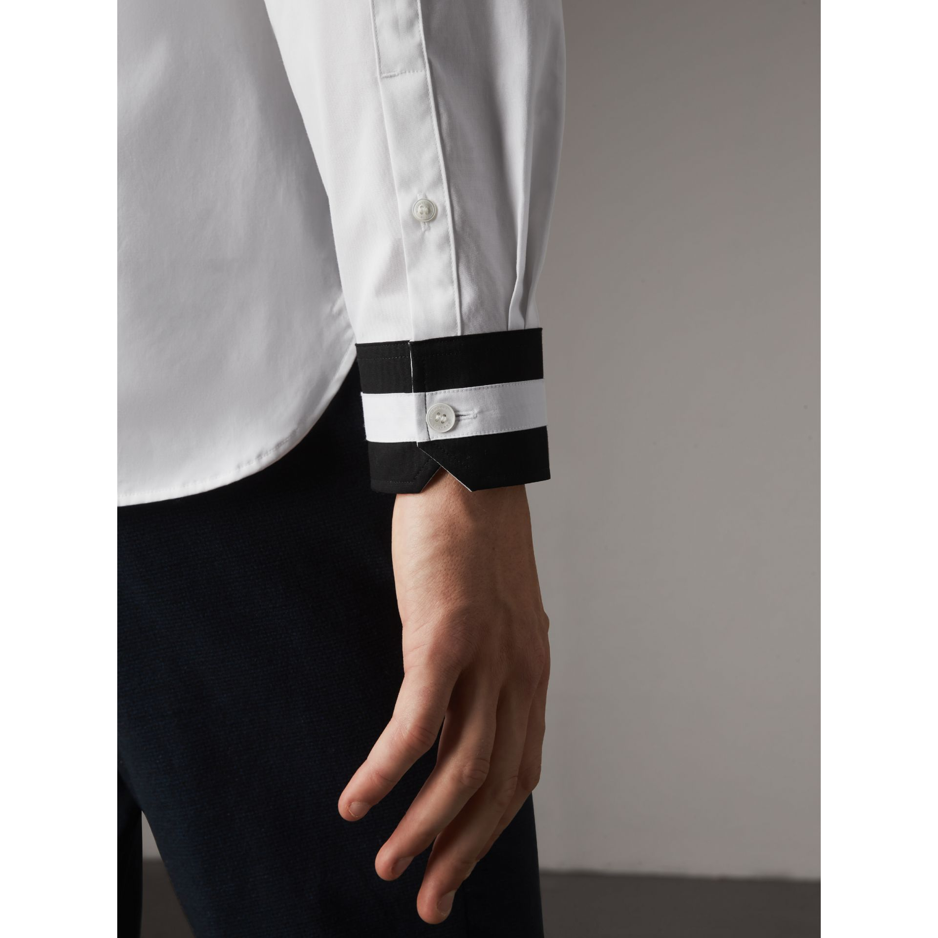 Striped Cuff Stretch Cotton Shirt in White - Men | Burberry - gallery image 1