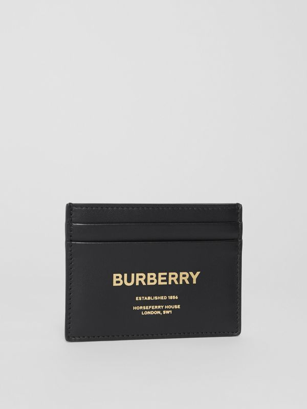 Horseferry Print Leather Card Case in Black - Men | Burberry - cell image 3