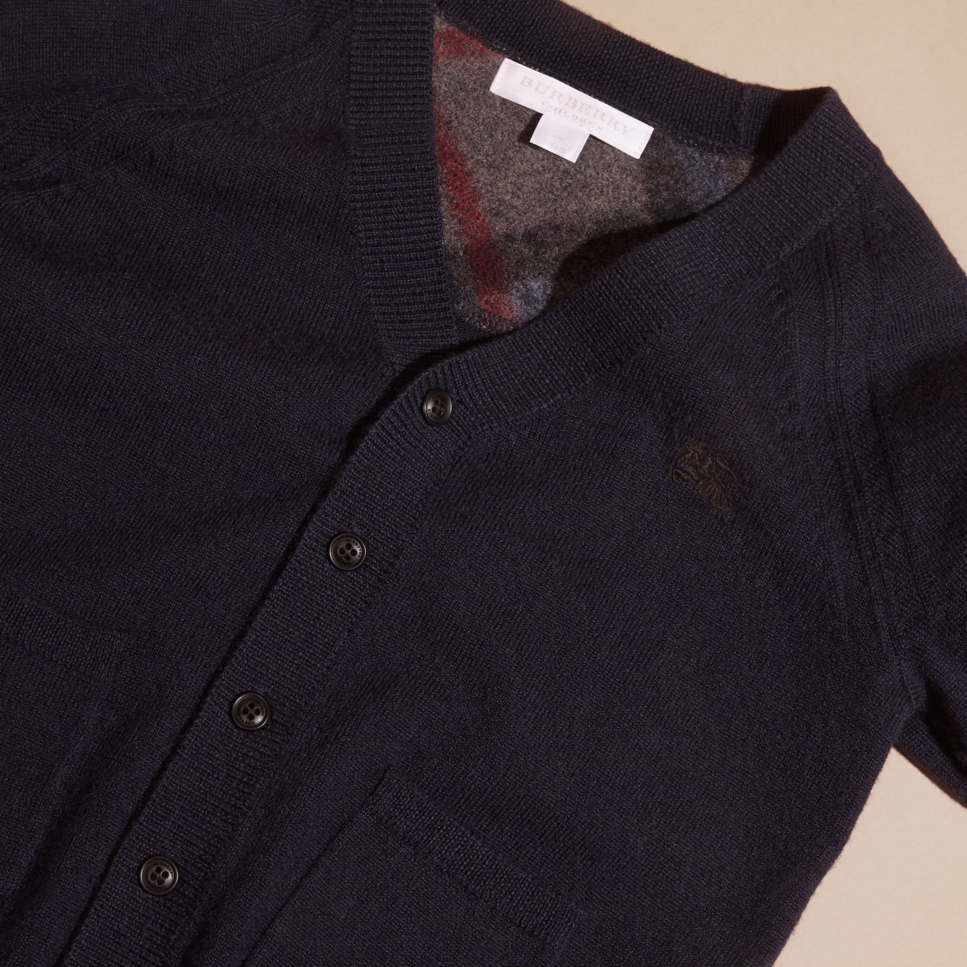 Check Detail Merino Wool Cardigan in Navy - Boy | Burberry United States - gallery image 2