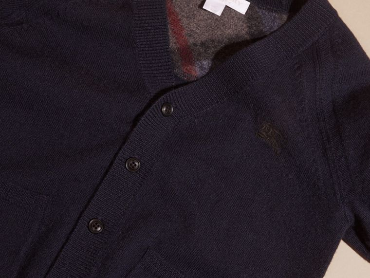 Navy Check Detail Merino Wool Cardigan - cell image 1