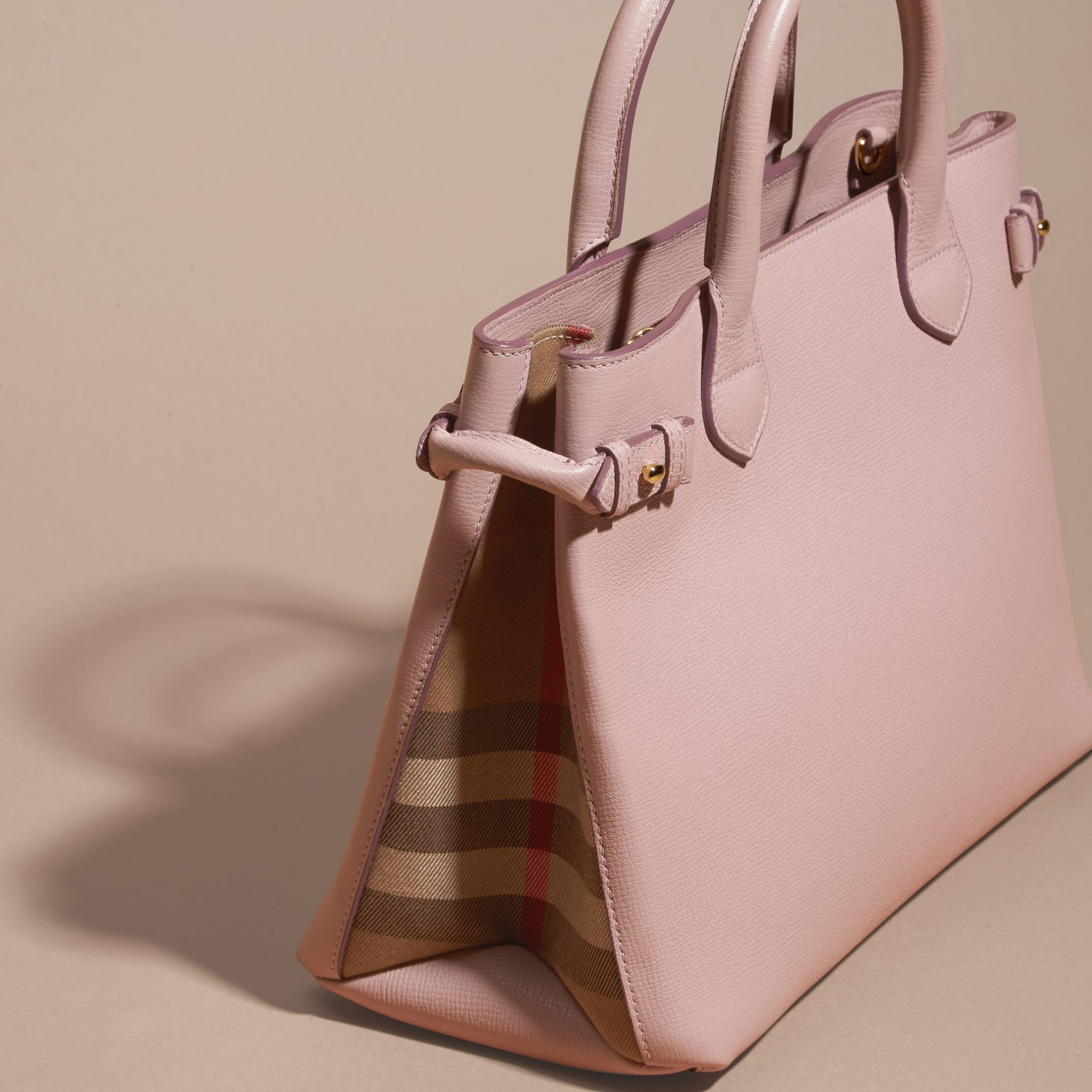 The Medium Banner in Leather and House Check in Pale Orchid - Women | Burberry - gallery image 4