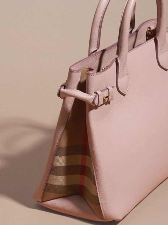 The Medium Banner in Leather and House Check in Pale Orchid - Women | Burberry - cell image 3