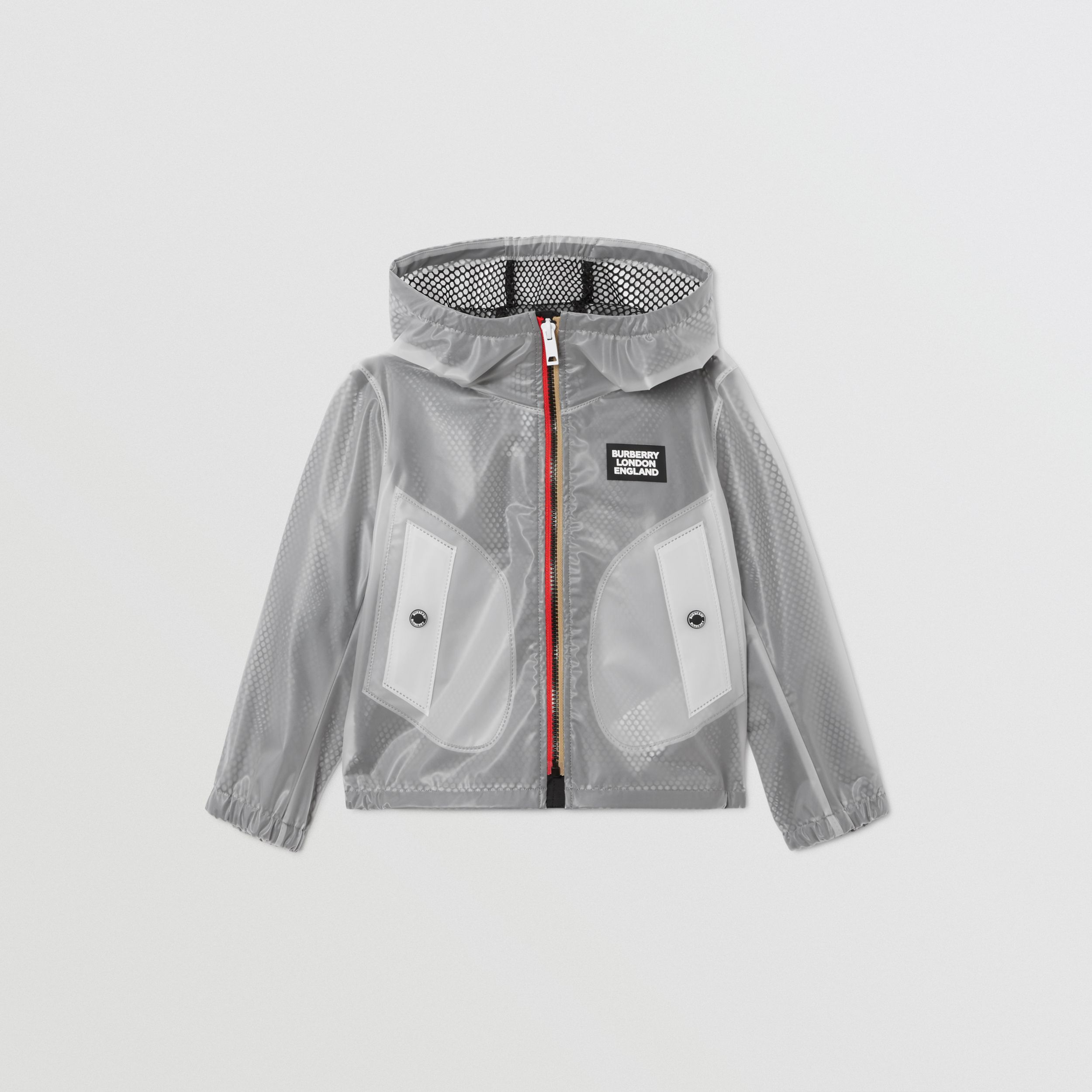 Logo Print Lightweight Hooded Jacket in Clear | Burberry - 1