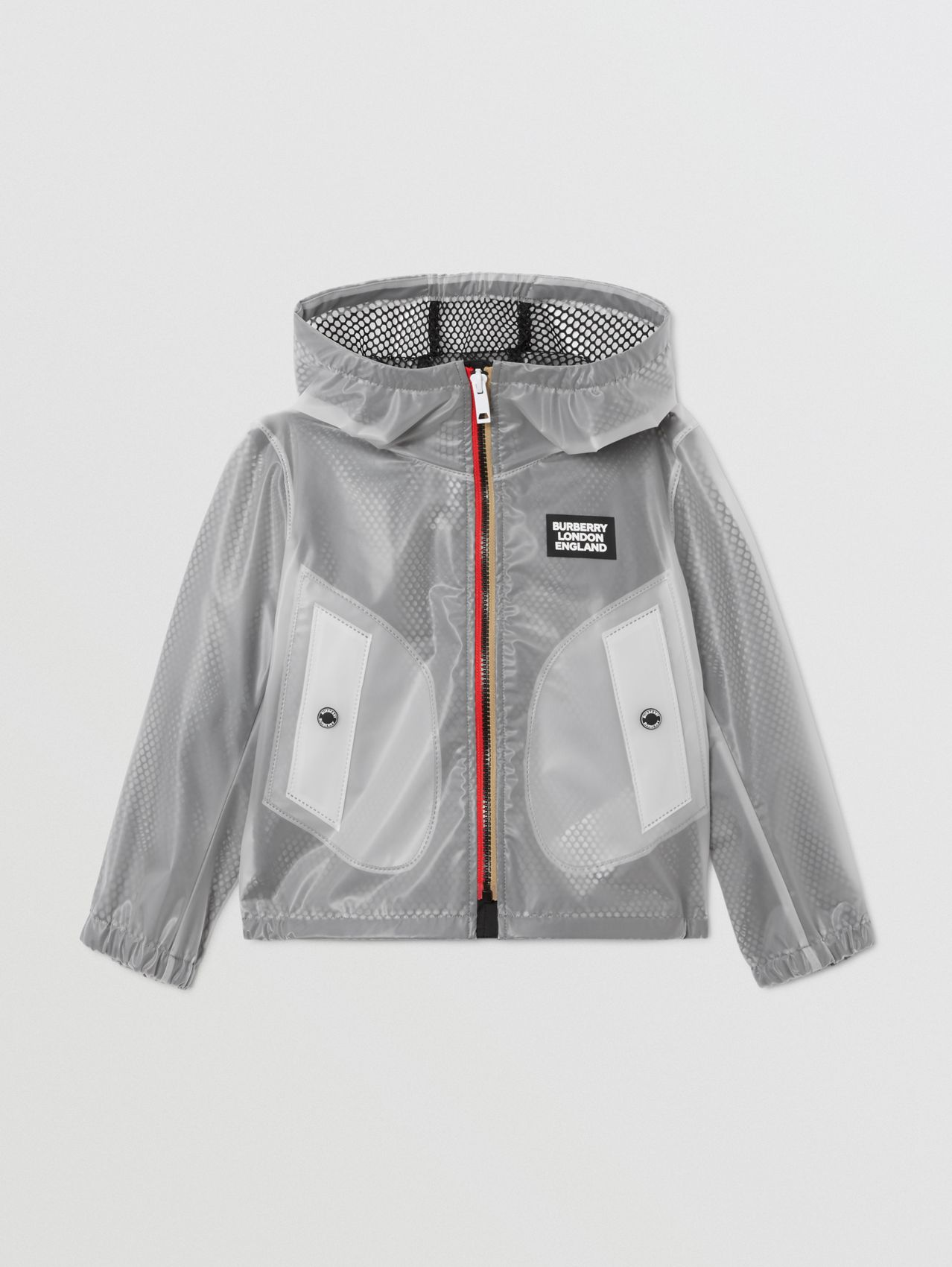Logo Print Lightweight Hooded Jacket in Clear