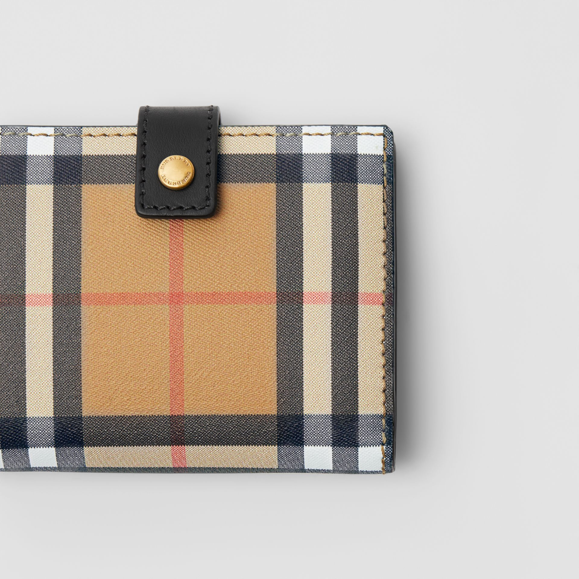 Small Vintage Check and Leather Folding Wallet in Black - Women | Burberry Canada - gallery image 1