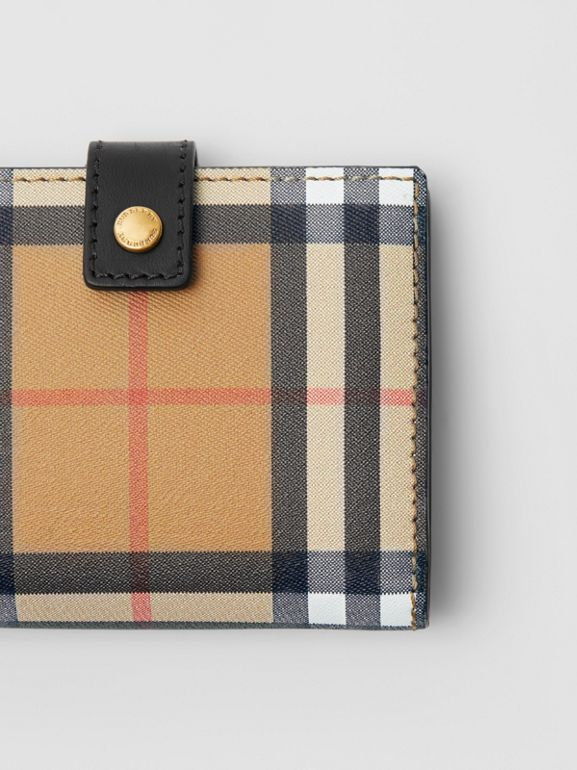 Small Vintage Check and Leather Folding Wallet in Black - Women | Burberry Canada - cell image 1